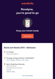 Boots & Hearts Festival 2019 tickets (ADMISSION & CAMPING)