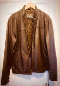 John Lewis Genuine Leather Jacket Men's Size M