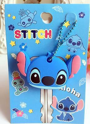Lilo&stitch blue head silica gel Key Met Protective Cover anime key ornament