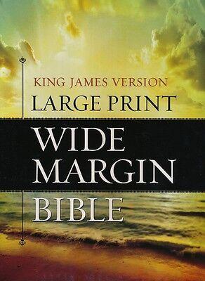 Kjv Large Print Wide Margin Bible   Genuine Leather Black