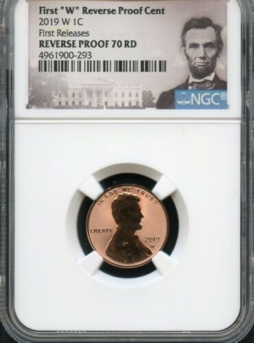 """2019 W First """"W"""" REVERSE Proof Cent FIRST RELEASES NGC 70 RD Portrait Label"""