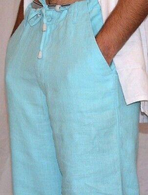 Men's Beach Linen Pants - Destination Wedding Draw String - Turquoise Aqua Blue