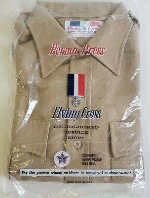 NEW FLYING CROSS USA MEN'S TAN BROWN UNIFORM DRESS SHIRT SIZE MEDIUM NEW Tan Uniform Shirt