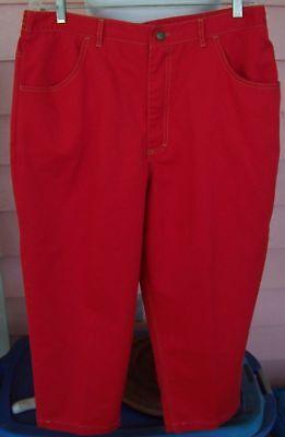 RED Jeans Capri Length Sz 18W 4 Pockets Flat Front Waist EZ CARE Twill Pants