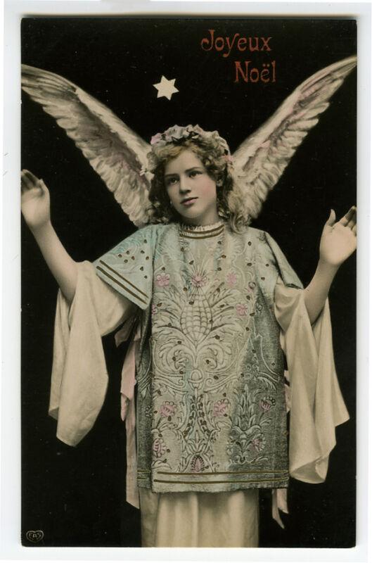 c 1910 Antique CHRITMAS ANGEL unused vintage photo postcard