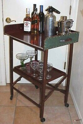 VINTAGE SCHEIBE RETRO FAUX LEATHER (2) TIER WOODEN FOLDING ROLLING BAR CART/TRAY