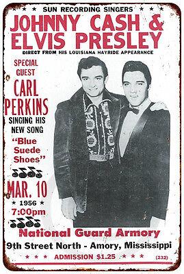 Johnny Cash and Elvis Presley Concert Vintage Reproduction metal Sign 8 x - Elvis Presley Metal