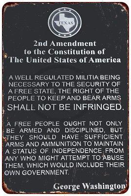 Washington Sign -  The 2nd Amendment George Washington Vintage Reproduction Metal Sign 8 x 12