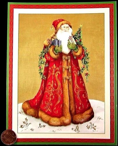 CASPARI VINTAGE Santa Claus Presents Tree GOLD SHINE Christmas Greeting Card NEW
