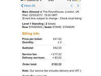Marc Almond tickets x2