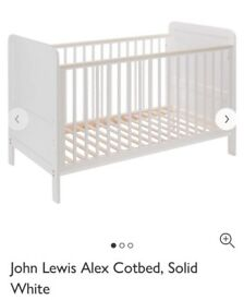 John Lewis Alex Cot bed solid white