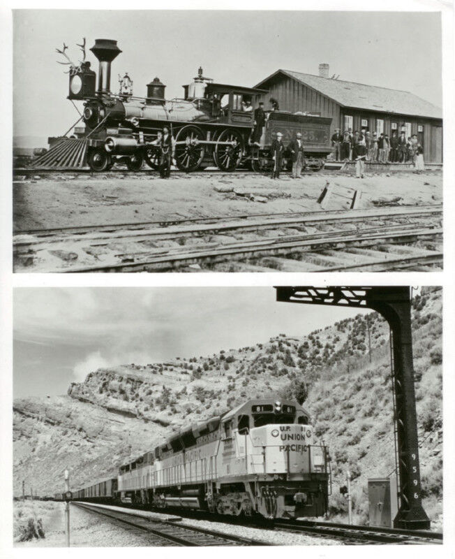 CONTRAST-ORIGINAL UNION PACIFIC LOCOMOTIVE AND MODERN