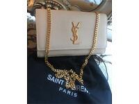 New ' Saint Laurent ' YSL Grain Monogram Cream Bag