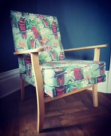 Mid century vintage style reupholstered chair