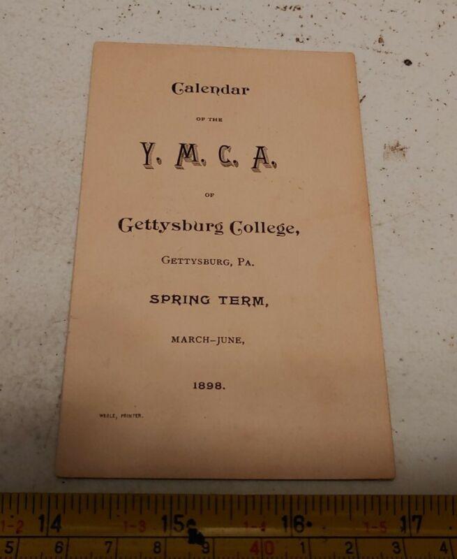 Vintage 1898 YMCA of Gettysburg PA College Calendar Booklet Ephemera