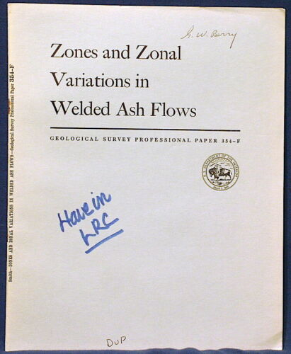 USGS ASH FLOW TUFFS, Their ZONES and VARIATIONS Classic COMPLETE 1960 ID AZ