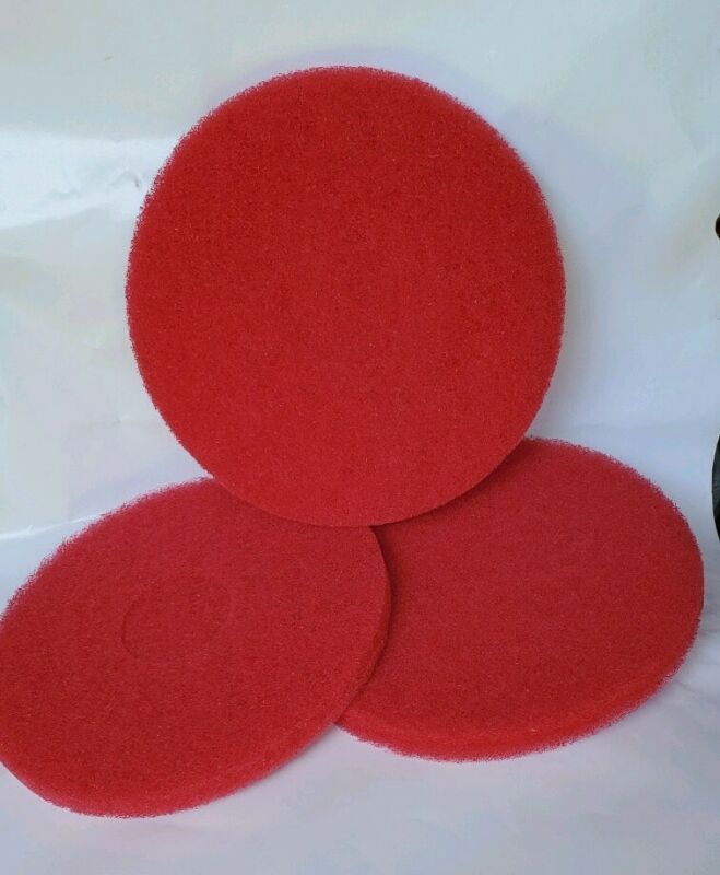 """3 -12"""" Red Buffing Floor Maintenance Pads"""