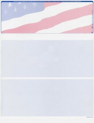 500 Blank Security Check Paper   Checks On Top  American Flag