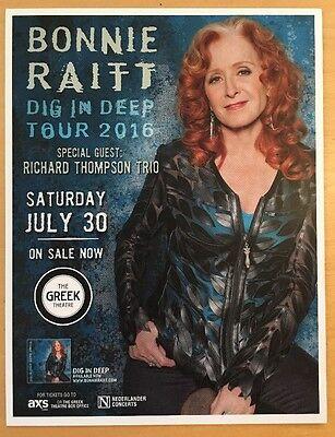 Bonnie Raitt Richard Thompson Trio Greek Theater La July 30 16 Handbill