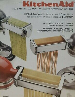 KitchenAid Kpra Pasta Roller Cutter Maker 3-piece Stand Mixer attachment set New