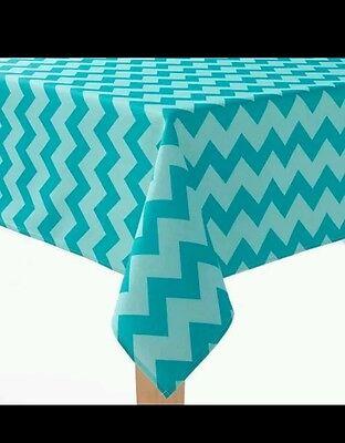 NEW Sonoma Aqua Blue Chevron Stripe Fabric Indoor/Outdoor 60 x 84 Tablecloth