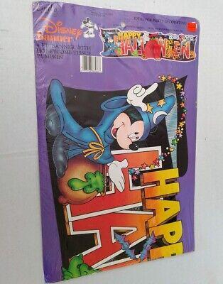 Vtg Disney Eureka Happy Halloween Banner Honeycomb MIckey Mouse Wizard Pluto 80s (Happy Halloween 80s)