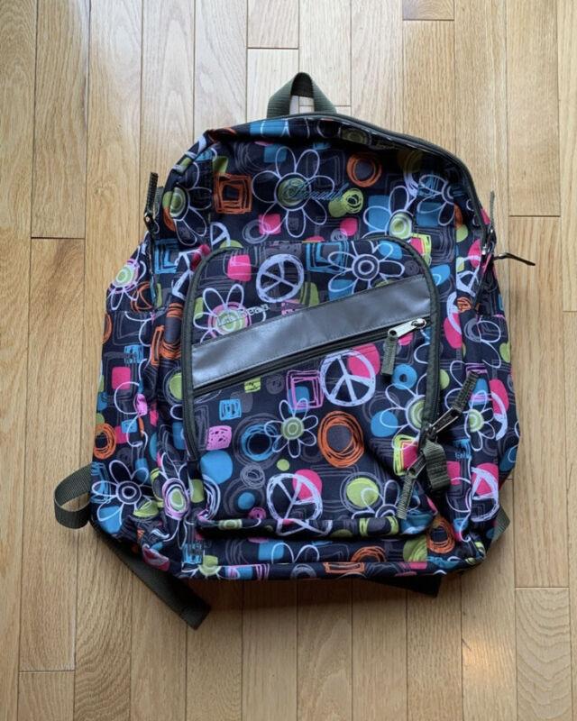 L.L. Bean deluxe kids backpack grey peace Hannah Book Bag