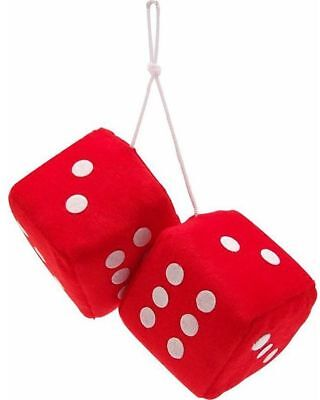 Red & White dots hanging retro large Car Furry fury FUZZY lucky Dice Set fluffy