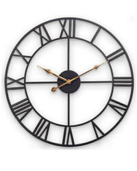 "Decor Wall Clock, European Retro Clock with Large Roman Numerals, 18"" Black"