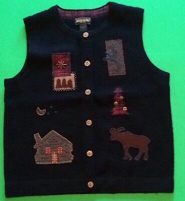 Woolrich Country Rustic Winter VEST Cabin Moose Xmas Tree Embellished Womans Med