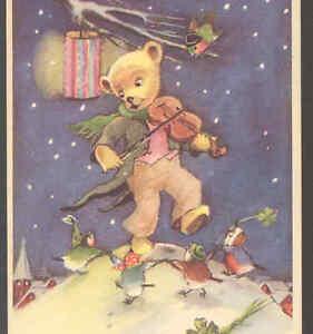 TEDDY-BEAR-PLAYS-VIOLIN-FOR-DANCING-BIRDS-NEW-YEAR-PAPER-LANTERN-POSTCARD