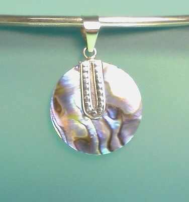1' Round Abalone Paua Shell 925 Solid Sterling Silver Handmade Pendant