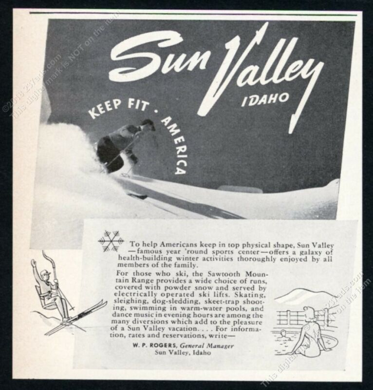 1942 Sun Valley ski area skier skiing photo Keep Fit America vintage print ad