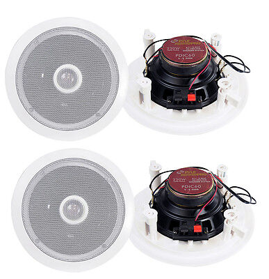"4) New Pyle 6.5"" 500W 2 Way Round In Wall/Ceiling Home Speakers System Audio"