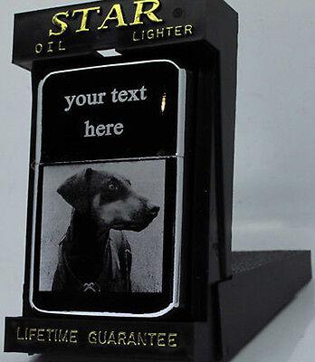 DOBERMAN DOG PHOTO / TEXT ENGRAVED LIGHTER GIFT UK