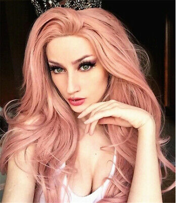 US Women Fashion Synthetic Hair Lace Front Wig Long Wavy Pink Full Wigs Cosplay