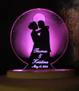 lighted wedding cake toppers personalized wedding or anniversary cake topper moonlight 16868