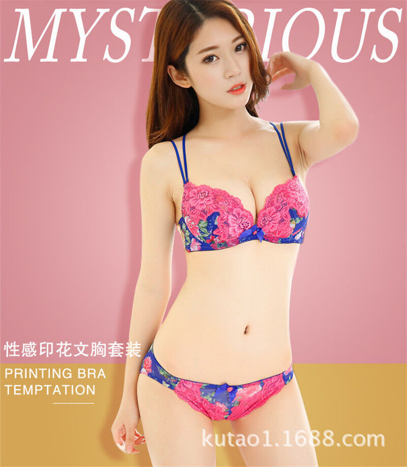 e0cb78013db50 Women Sexy Deep V Lace Printing Bra And Panty Set A B Cup Color Blue Green  DN