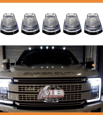 Clear Lens WHITE LED Cab roof lights 5pc 2017 2018 Ford F250 F350 super duty  Clear Cab Roof Lens