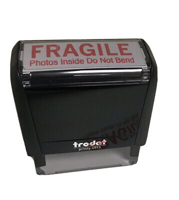 Fragile Stamp For Mailing Photos On Trodat 4913 Self-inking Stamp With Red Ink