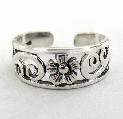 Sterling Silver Flower and Scrolls adjustable toe ring