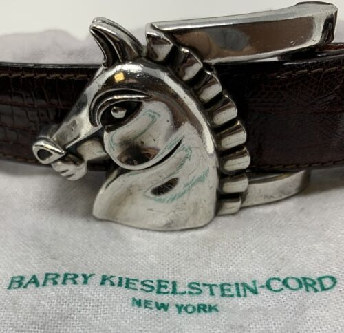 Kieselstein Cord Sterling Horse Belt Buckle with Original Lizard Belt