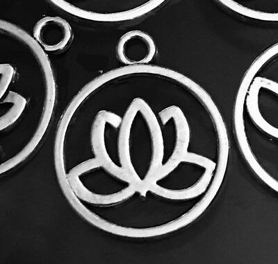 10 Lotus Flower Charms Antique Silver Pewter Filigree Water Lily Charm Yoga  (Yoga Charms)