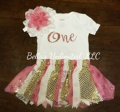 "1st birthday rig out,""One"" birthday fabric Tutu Set w/shabby chic flower headband"