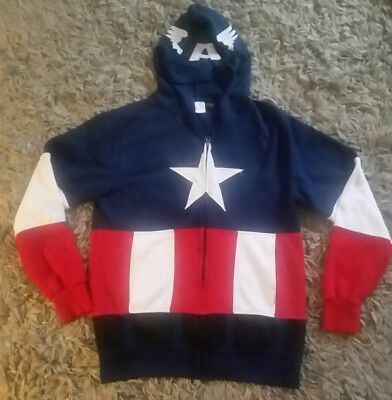 CA FULL ZIP JACKET WITH EYE CUTOUTS IN HOOD ~ AWESOME!!  (Awesome Captain America Kostüm)