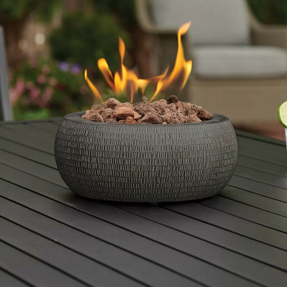Table Top Fire Pit Round Bowl Propane Gas Burner Gray Fireplace