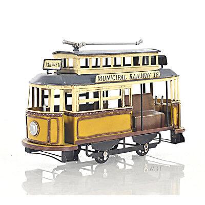 "Trolley Streetcar Municipal Railway Cable Car Metal Scale Model 10.5"" Decor New"