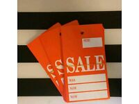 """""""Sale"""" tags, red colour, all clear . Great for shop. 60 pieces for 5"""