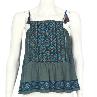 LUCKY BRAND Green Embroidered Sleeveless Cami Boho Hippie Top size Small  (Lucky Brand Cami)