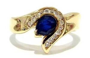 3.82G 9ct Yellow Gold Sapphire & Diamond Ring Size O 229258